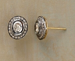 Uncut Earrings 0.36 Ct Natural Certified Diamond 925 Sterling Silver Engagement