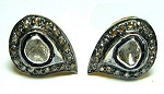 Antique Earrings 0.58 Ct Natural Certified Diamond 925 Sterling Silver Festive