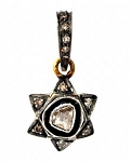 Vintage Art Deco Pendant 0.26 Ct Natural Certified Diamond 925 Sterling Silver Wedding