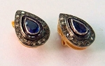 Antique Earrings 1.65 Ct Natural Certified Diamond Blue Sapphire 925 Sterling Silver Weekend