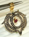 Victorian Pendant 2.22 Ct Natural Certified Diamond Ruby Emerald 925 Sterling Silver Festive
