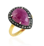 Antique Style Engagement Rings 2.18 Ct Natural Certified Diamond Ruby 925 Sterling Silver Party