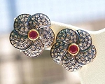 Vintage Drop Earrings 3.30 Ct Natural Certified Diamond Ruby 925 Sterling Silver Vacation