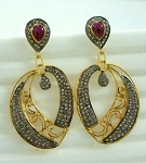 Art Deco Earrings 3.35 Ct Natural Certified Diamond Ruby 925 Sterling Silver Everyday