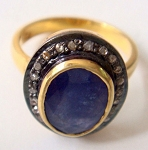 Uncut Ring 1.55 Ct Natural Certified Diamond Blue Sapphire 925 Sterling Silver Wedding