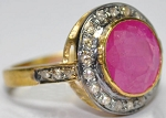 Victorian Rings 1.60 Ct Natural Certified Diamond Ruby 925 Sterling Silver Festive