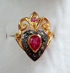 Victorian Wedding Rings 1.52 Ct Natural Certified Diamond Ruby 925 Sterling Silver Vacation