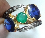 Vintage Diamond Engagement Rings 2.84 Ct Natural Certified Diamond Emerald Sapphire 925 Sterling Silver Everyday