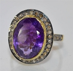 Vintage Art Deco Engagement Rings 4.35 Ct Natural Certified Diamond Amethyst Setrling 925 Sterling Silver Anniversary