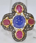 Antique Style Rings 1.00 Ct Natural Certified Diamond 2.50 Ct Ruby & Tanzanite 925 Sterling Silver Festive