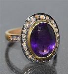 Art Deco Diamond Engagement Rings 4.15 Ct Natural Certified Diamond Amethyst 925 Sterling Silver Weekend