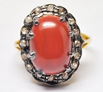 Victorian Style Rings 3.00 Ct Natural Certified Diamond Coral 925 Sterling Silver Special Occasion
