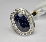 Antique Vintage Engagement Rings 1.47 Ct Natural Certified Diamond Blue Sapphire 925 Sterling Silver Festive