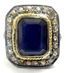 Victorian Antique Engagement Rings 2.55 Ct Natural Certified Diamond Blue Sapphire 925 Sterling Silver Weekend