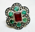 Antique Style Diamond Engagement Rings 3.50 Ct Natural Certified Diamond Ruby Emerald 925 Sterling Silver Workwear