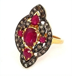 Rose Cut Rings 3.40 Ct Natural Certified Diamond Ruby 925 Sterling Silver Engagement