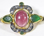 Uncut Ring 2.50 Ct Natural Certified Diamond Ruby Emerald 925 Sterling Silver Wedding