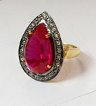 Victorian Rings 3.70 Ct Natural Certified Diamond Ruby 925 Sterling Silver Festive