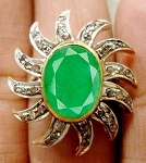 Antique Style Engagement Rings 3.00 Ct Natural Certified Diamond Emerald 925 Sterling Silver Party