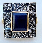 Vintage Style Wedding Rings 3.25 Ct Natural Certified Diamond Blue Sapphire 925 Sterling Silver Special Occasion