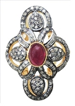 Antique Style Rings 3.32 Ct Natural Certified Diamond Ruby 925 Sterling Silver Festive