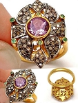 Victorian Rings For Sale 2.60 Ct Natural Certified Diamond Amethyst 925 Sterling Silver Wedding