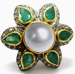 Antique Looking Engagement Rings 4.50 Ct Natural Certified Diamond Emerald Pearl 925 Sterling Silver Office Wear