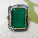 Vintage Inspired Wedding Rings 2.44 Ct Natural Certified Diamond Emerald 925 Sterling Silver Special Occasion
