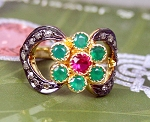 Rose Cut Rings 1.76 Ct Natural Certified Diamond Emerald Ruby 925 Sterling Silver Engagement