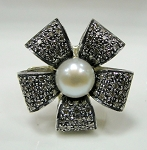 Uncut Ring 2.00 Ct Natural Certified Diamond Pearl 925 Sterling Silver Wedding