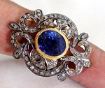 Vintage Wedding Ring 2.05 Ct Natural Certified Diamond Blue Sapphire 925 Sterling Silver Workwear