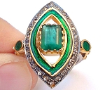Vintage Diamond Wedding Rings 1.70 Ct Natural Certified Diamond Emerald 925 Sterling Silver Party