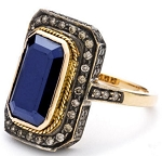 Art Deco Style Engagement Rings 3.55 Ct Natural Certified Diamond Blue Sapphire 925 Sterling Silver Office Wear