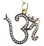Victorian Pendant Om 1.02 Ct Natural Certified Diamond 925 Sterling Silver Party