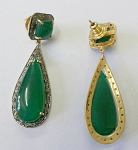 Victorian Earrings 12.25 Ct Natural Certified Diamond Green Onyx 925 Sterling Silver Weekend