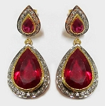 Victorian Drop Earrings 8.00 Ct Natural Certified Diamond Ruby 925 Sterling Silver Special Occasion