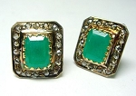 Victorian Diamond Earrings 3.85 Ct Natural Certified Diamond Emerald 925 Sterling Silver Anniversary