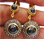 Antique Drop Earrings 5.10 Ct Natural Certified Diamond Sapphire 925 Sterling Silver Engagement