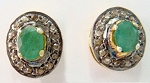 Victorian Earrings 2.15 Ct Natural Certified Diamond Emerald 925 Sterling Silver Party