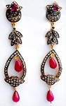 Vintage Drop Earrings 7.34 Ct Natural Certified Diamond Ruby Sapphire 925 Sterling Silver Office Wear