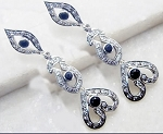 Art Deco Earrings 3.20 Ct Natural Certified Diamond Blue Sapphire 925 Sterling Silver Special Occasion