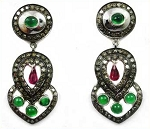 Victorian Drop Earrings 7.04 Ct Natural Certified Diamond Ruby Emerald 925 Sterling Silver Anniversary