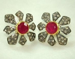 Victorian Diamond Earrings 3.30 Ct Natural Certified Diamond Ruby 925 Sterling Silver Engagement