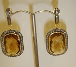 Polki Earrings 3.65 Ct Natural Certified Diamond Golden Topaz 925 Sterling Silver Festive