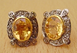 Rose Cut Earrings 2.80 Ct Natural Certified Diamond Golden Topaz 925 Sterling Silver Weekend
