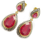 Uncut Earrings 7.00 Ct Natural Certified Diamond Ruby 925 Sterling Silver Party
