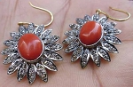 Vintage Drop Earrings 3.70 Ct Natural Certified Diamond Coral 925 Sterling Silver Special Occasion