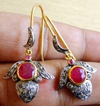 Victorian Drop Earrings 2.75 Ct Natural Certified Diamond Ruby 925 Sterling Silver Engagement