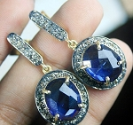 Antique Drop Earrings 3.17 Ct Natural Certified Diamond Blue Sapphire 925 Sterling Silver Festive