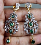 Polki Earrings 4.60 Ct Natural Certified Diamond Emerald 925 Sterling Silver Weekend